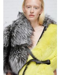 Jil Sander Grey Green Fur Scarf