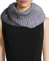 Pologeorgis Knitted Mink Fur Infinity Scarf Gray