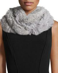 Jocelyn Knitted Rabbit Fur Infinity Scarf Gray