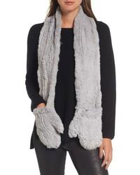 Love token genuine rabbit fur scarf with built in mittens medium 6458381
