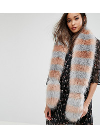 My Accessories Striped Faux Fur Scarf