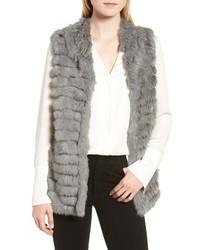 La Fiorentina Genuine Rabbit Fur Acrylic Knit Vest