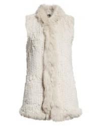 Love Token Genuine Rabbit Fur Vest With Genuine Fox