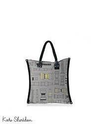 Grey Geometric Canvas Tote Bag