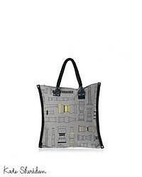 Kate sheridan column print rivet tote bag ash grey medium 48783