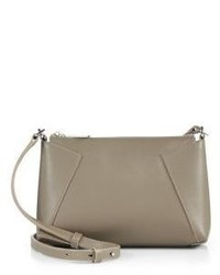 Grey Geometric Leather Crossbody Bag