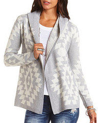 Grey Geometric Open Cardigan