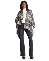 Aztec Pattern Woven Open Front Poncho Gray