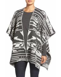 White + Warren Blanket Jacquard Poncho Style Cardigan
