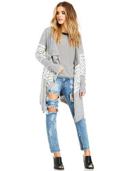 Dailylook Tribal Print Waterfall Cardigan In Gray M L