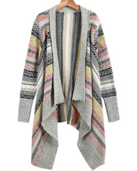 Geometrical Print Grey Knitted Cardigan