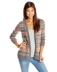 Pink Rose Juniors Aztec Stripe Open Printed Cardigan Sweater