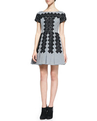 Embroidered pleated skirt party dress medium 127425