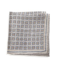 Brunello Cucinelli Medallion Linen Cotton Pocket Square