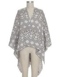 Geo Knit Sweateropen Front Poncho Gray