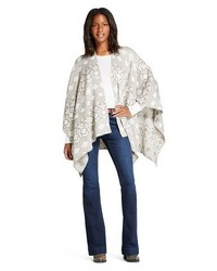 Geo Knit Sweateropen Front Poncho Gray