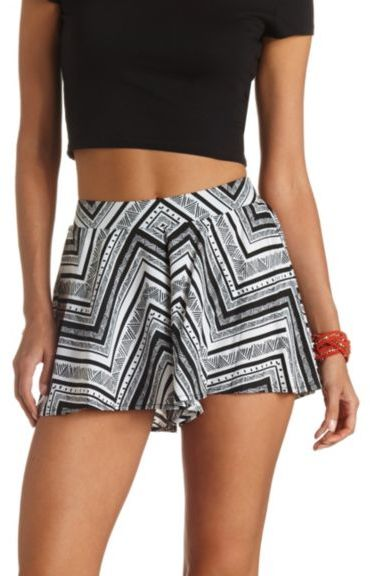 Charlotte Russe Flowy Tribal Print High Waisted Shorts | Where to ...