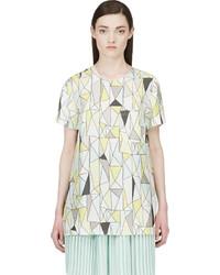 Roksanda Grey And Yellow Silk Geometric Baynes T Shirt