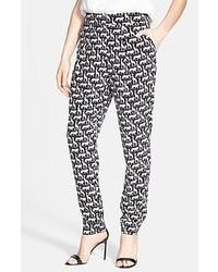 Grey Geometric Skinny Pants