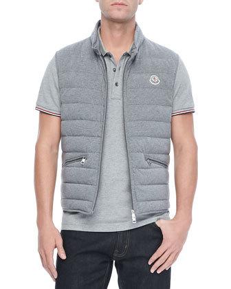 ... Grey Gilets Moncler Gerard Cotton Puffer Vest Gray