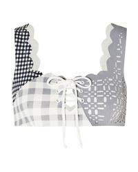 Marysia Wainscott Scalloped Lace Up Gingham Stretch Crepe Bikini Top