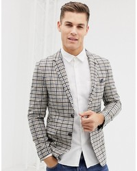 Burton Menswear Regular Fit Wool Blazer In Camel Check