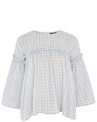 Topshop Washed Gingham Print Flute Sleeve Top