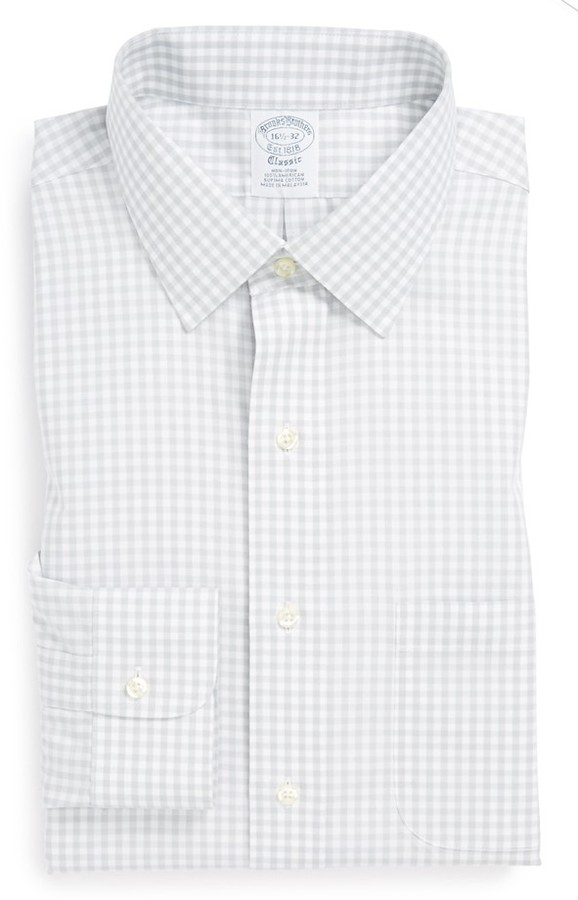 Brooks brothers slim fit non iron check dress shirt for Slim fit non iron dress shirts
