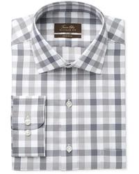Tasso Elba Classic Fit Non Iron Gray Mega Gingham Dress Shirt Created For Macys