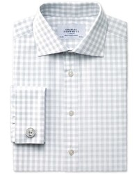 Charles Tyrwhitt Extra Slim Fit Semi Spread Collar Textured Gingham Grey Cotton Dress Casual Shirt Single Cuff Size 16538 By