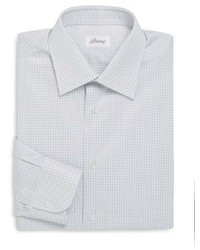 Brioni Gingham Pattern Regular Fit Dress Shirt