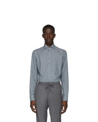Z Zegna Green And Grey Check Shirt