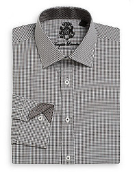 English Laundry Regular Fit Mini Gingham Check Cotton Dress Shirt
