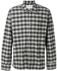 Grey Gingham Flannel Long Sleeve Shirt