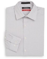 Saks Fifth Avenue Trim Fit Textured Gingham Stretch Cotton Dress Shirt