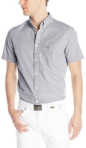 81a6f04d0 ... Lacoste Short Sleeve Poplin Gingham Regular Fit Button Down Woven Shirt