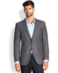 Grey Gingham Wool Blazer