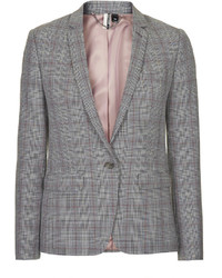 Topshop Premium Tailored Suit Blazer In Check Print 64% Polyester 32% Viscose 4% Elastane Dry Clean Only