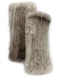 La Fiorentina Fingerless Mink Fur Gloves Gray