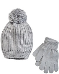 Girls 4 14 So Sparkle Knit Pom Pom Hat Gloves Set