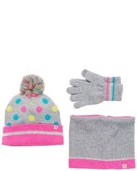 ZeroXposur Girls 4 16 Sparkle Polka Dot Pom Pom Hat Neckwarmer Gloves Set