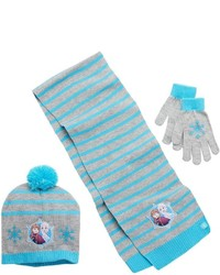 Disney S Frozen Anna Elsa Girls 4 16 Pom Pom Hat Scarf Gloves Set