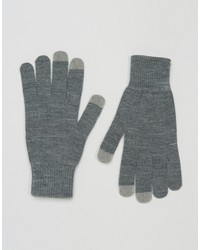 Asos Touchscreen Gloves In Gray