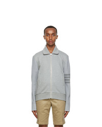 Thom Browne Grey French Terry 4 Bar Bomber Jacket