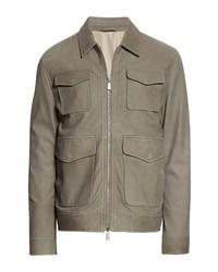 Eleventy Nubuck Leather Field Jacket