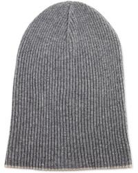Brunello Cucinelli Cashmere Ribbed Hat Wfoldover Brim Grayoatmeal