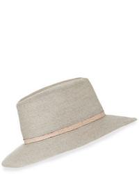 Eugenia Kim Courtney Snake Trim Fedora Hat Light Gray
