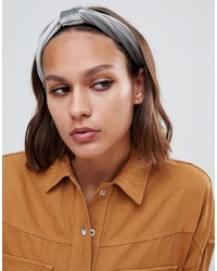 ASOS DESIGN Knot Front Velvet Headband In Grey