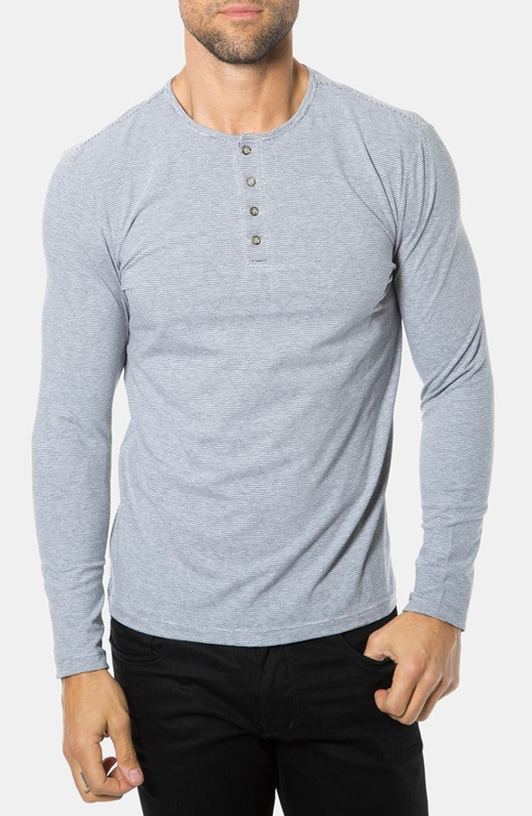 7 diamonds universal mind control long sleeve henley for Henley t shirt long sleeve
