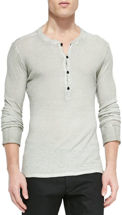 Belstaff fielder long sleeve henley shirt light gray for Kim kardashian henley shirt